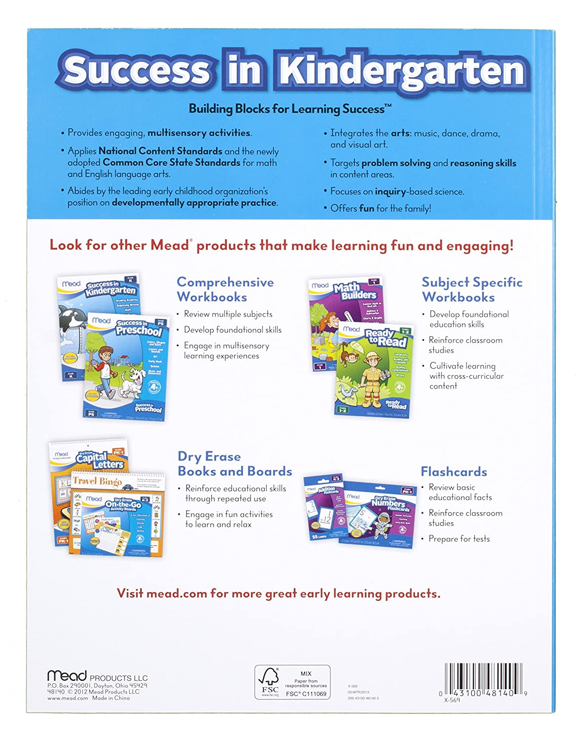 Amazon.com : Mead Success In Kindergarten Workbook, Grades PK-K ...