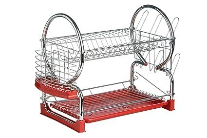 Premier Housewares - Escurridor de platos de 2 pisos (con bandeja extraíble  color rojo) 705fd8612d5a