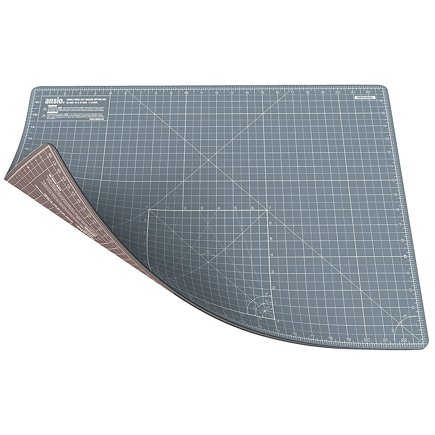 ANSIO A0 Double Sided Self Healing 5 Layers Cutting Mat Imperial/Metric 46 Inch x 33.5 Inch / 118cm x 86cm - Brown/Grey