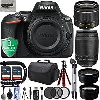 "Nikon D5600 24.2MP 1080P DSLR Camera w/ 3.2"" LCD - Wi-Fi & GPS Ready + 4 Lens - 18 to 300mm - 64GB - 20PC Kit - Nikon 18-55VR - Nikon 70-300G - Opteka 2.2X Tele - Opteka 0.43x Wide + 3YR Warranty"