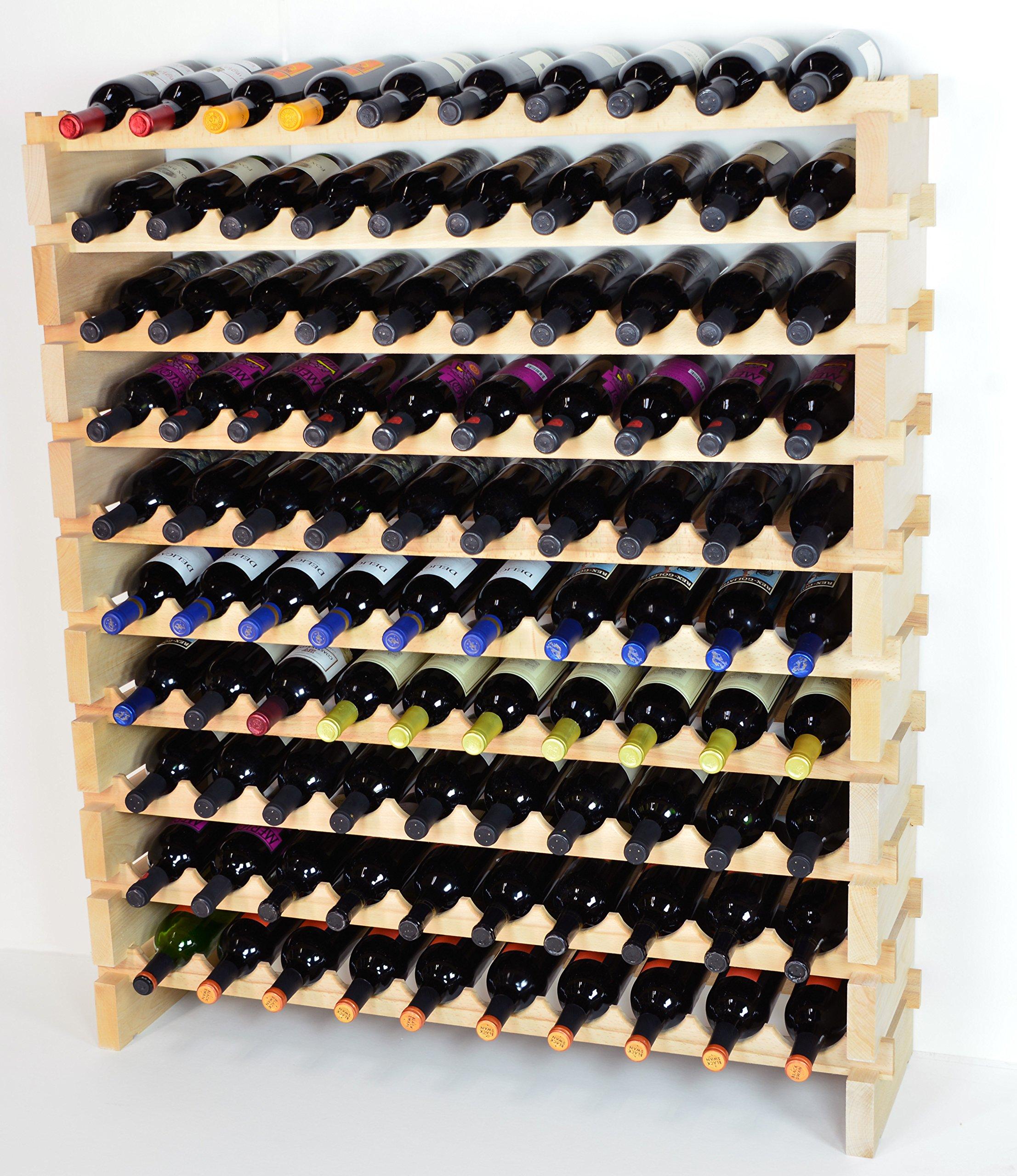 Modular Wine Rack Beechwood 40-120 Bottle Capacity 10 Bottles Across up to 12 Rows Newest Improved Model (100 Bottle - 10 Rows)