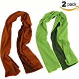 """ZZLAY 2-Pack Sport Cooling Towel 40""""x12"""" Sweat-proof Cooling Towels for Yoga,Camping,Cycling,Gym,Travel,Pilates"""