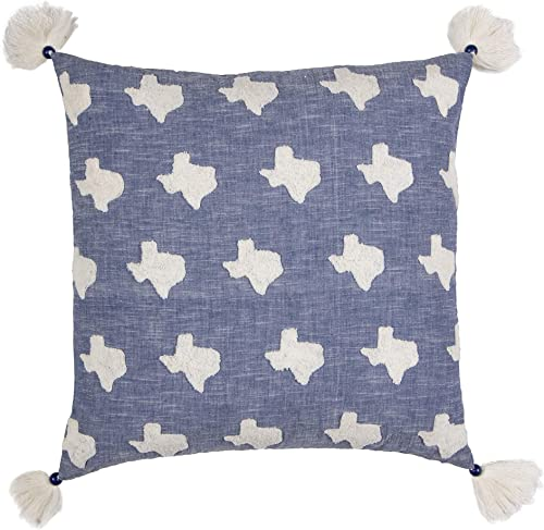 James Home Texas State Pillow Decorative Pillow, Blue