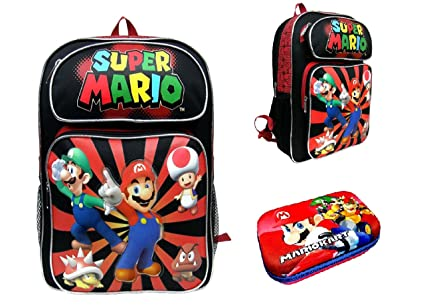 cba2601f4247 Image Unavailable. Image not available for. Color  Backpack - Nintendo - Super  Mario Black   Red ...