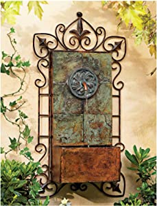 "Lamps Plus Ibizi Rustic Outdoor Wall Water Fountain with Light LED 33"" High Medallion for Yard Garden Patio Deck Home Hallway Entryway - John Timberland"