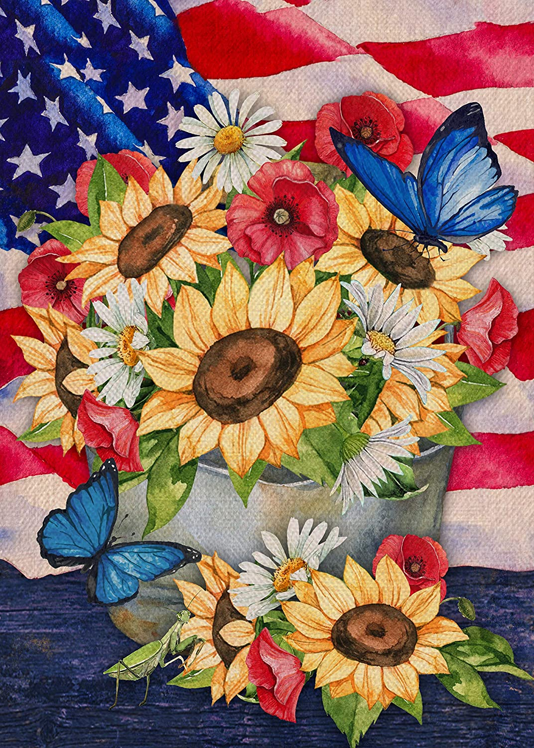 Covido Home Decorative Spring Summer Sunflower Daisy Garden Flag, July 4th House Yard Flower Butterfly Decor, USA Outside Patriotic Decorations American Outdoor Small Burlap Flag Double Sided 12 x 18