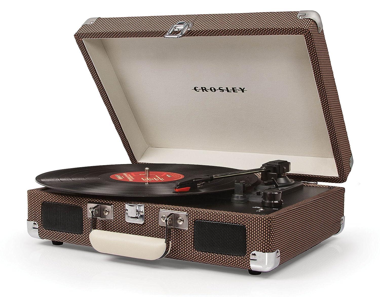 Crosley Cruiser - Tocadiscos de Vinilo portátil (3 velocidades, Altavoces estéreo Integrados, con Enchufe EU) diseño maletín, Tweed