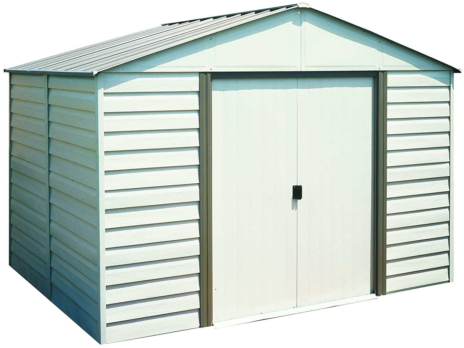 garden sheds dp sheridan outdoor meadow storage com arrow vinyl ft almond green amazon steel x shed
