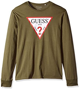 3ad07766 GUESS Men's Long Sleeve Classic Logo T-Shirt, Army Olive M