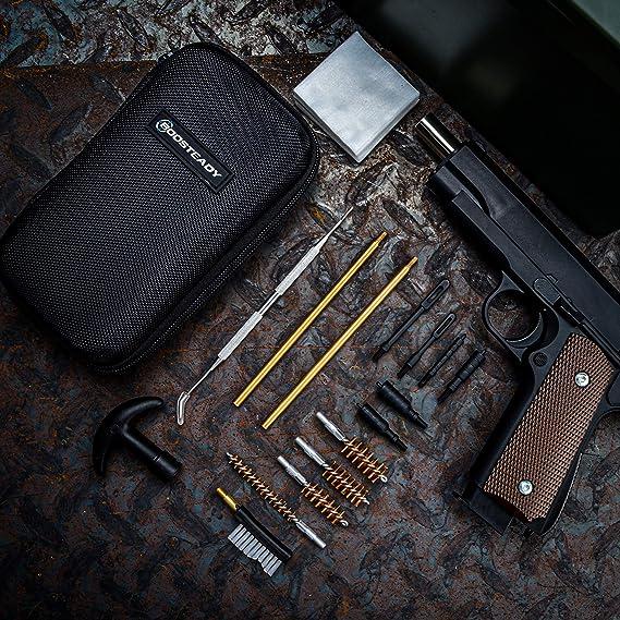 BOOSTEADY Kit de Limpieza Universal para Pistola Juego de Limpieza de Pistola Brush y Jag Calibre de 22 357 38 9 mm 45