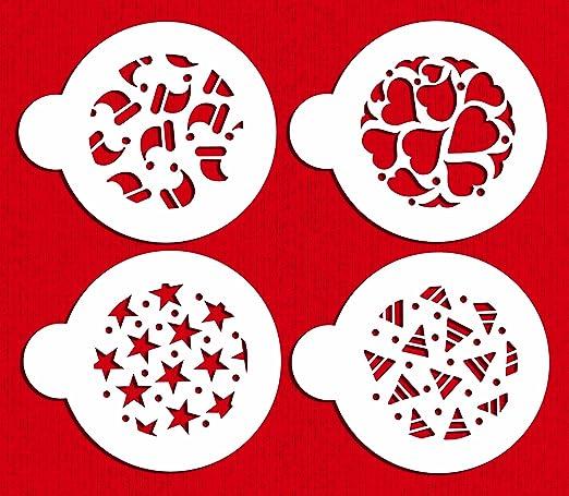 Beige//semi-transparent designer stencils C747 Small Crystal Snowflakes 2 Cookie Stencils