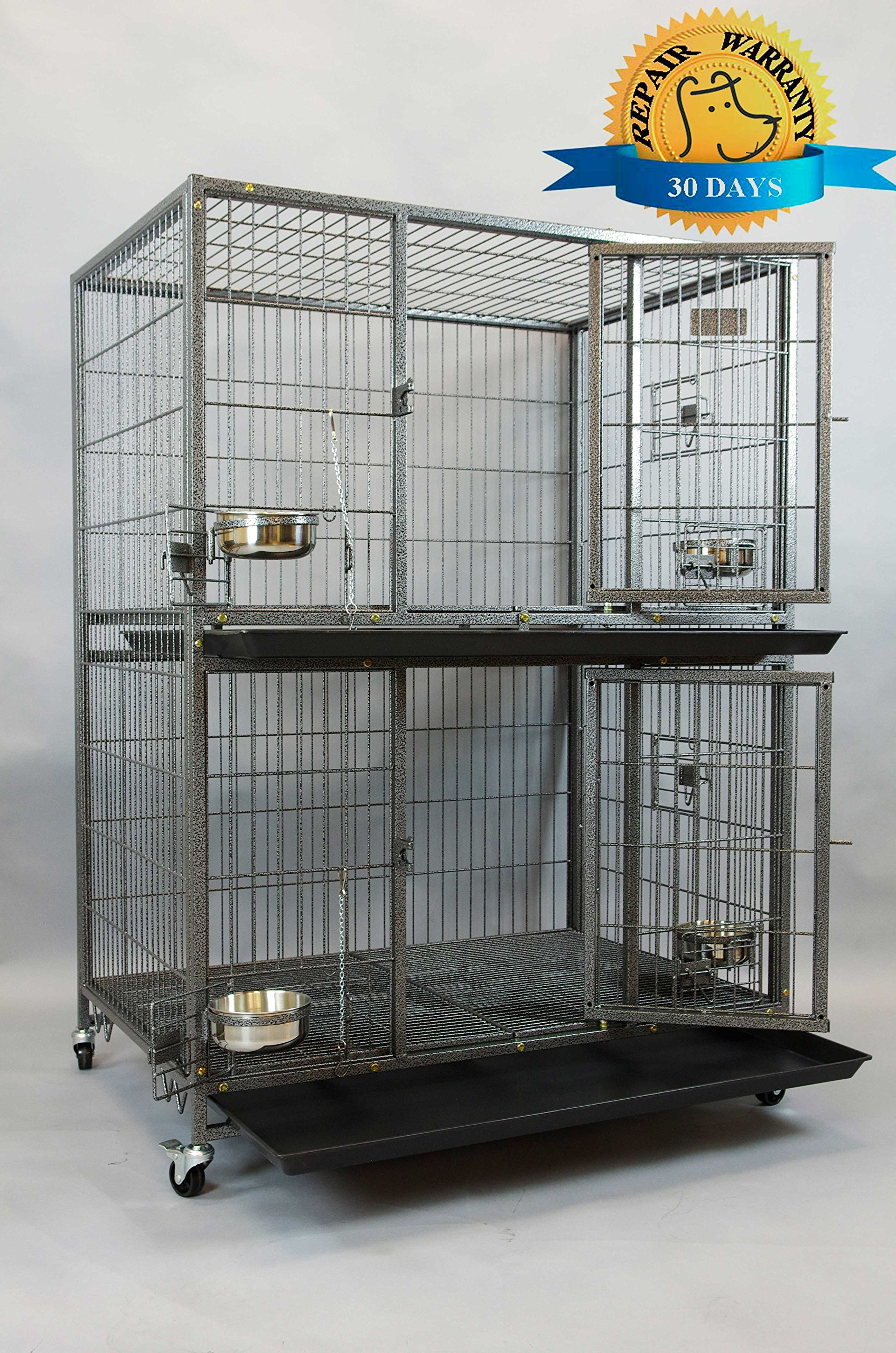 Homey Pet New 37'' Two Tier Pet Dog Cat Cage with Feeding Door and Bowls by Homey Pet