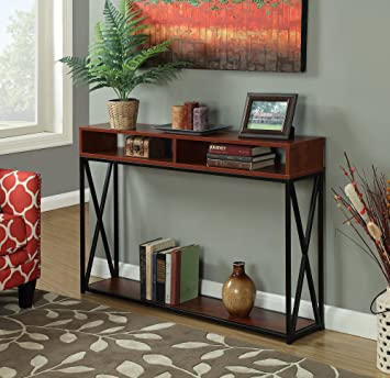 Convenience Concepts Tucson Deluxe 2 Tier Console Table, Cherry/Black