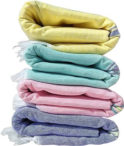 Fancyadda Khadi Handloom Cotton XL Bath Towels - Multicolour, Set of 4