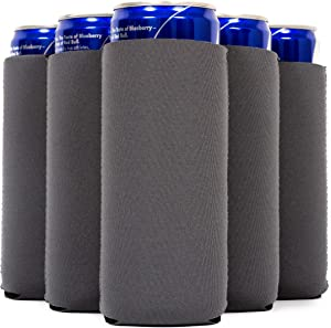 QualityPerfection 12 Slim Can Cooler Sleeves, Beer/Energy Drink Blank Skinny 12 oz Neoprene Coolie, Compatible with RedBull, Spiked Seltzer, White Claw (12, Charcoal Grey)