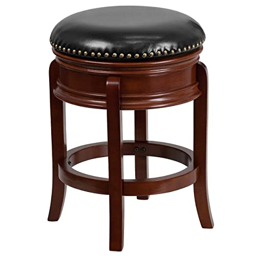 Flash Furniture 24 High Backless Light Cherry Wood Counter Height Stool Carved Apron and Black Leather Swivel Seat