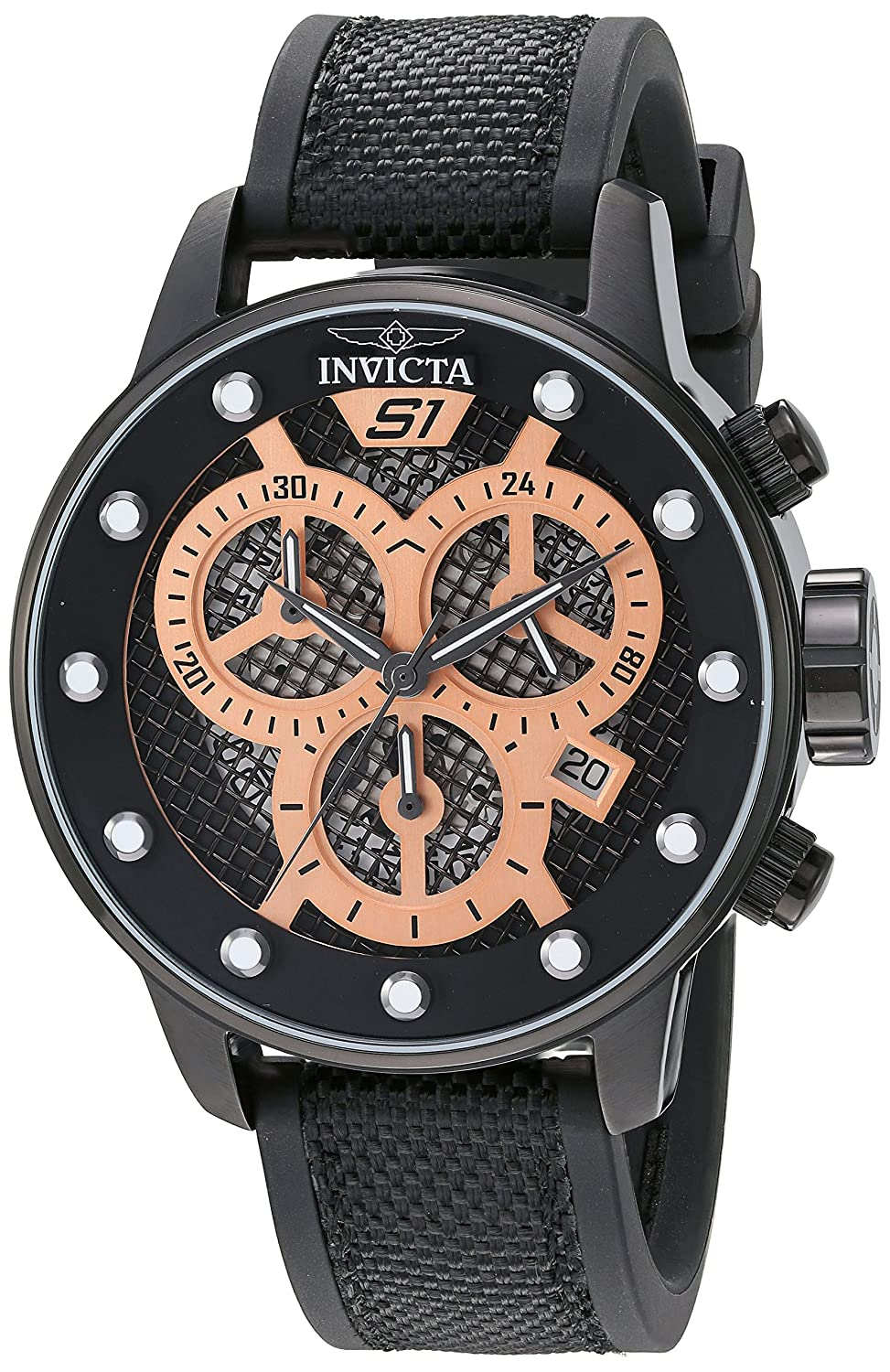 Amazon.com: Invicta Mens S1 Rally Quartz Stainless Steel and Polyurethane Watch, Color:Black (Model: 19625): Watches