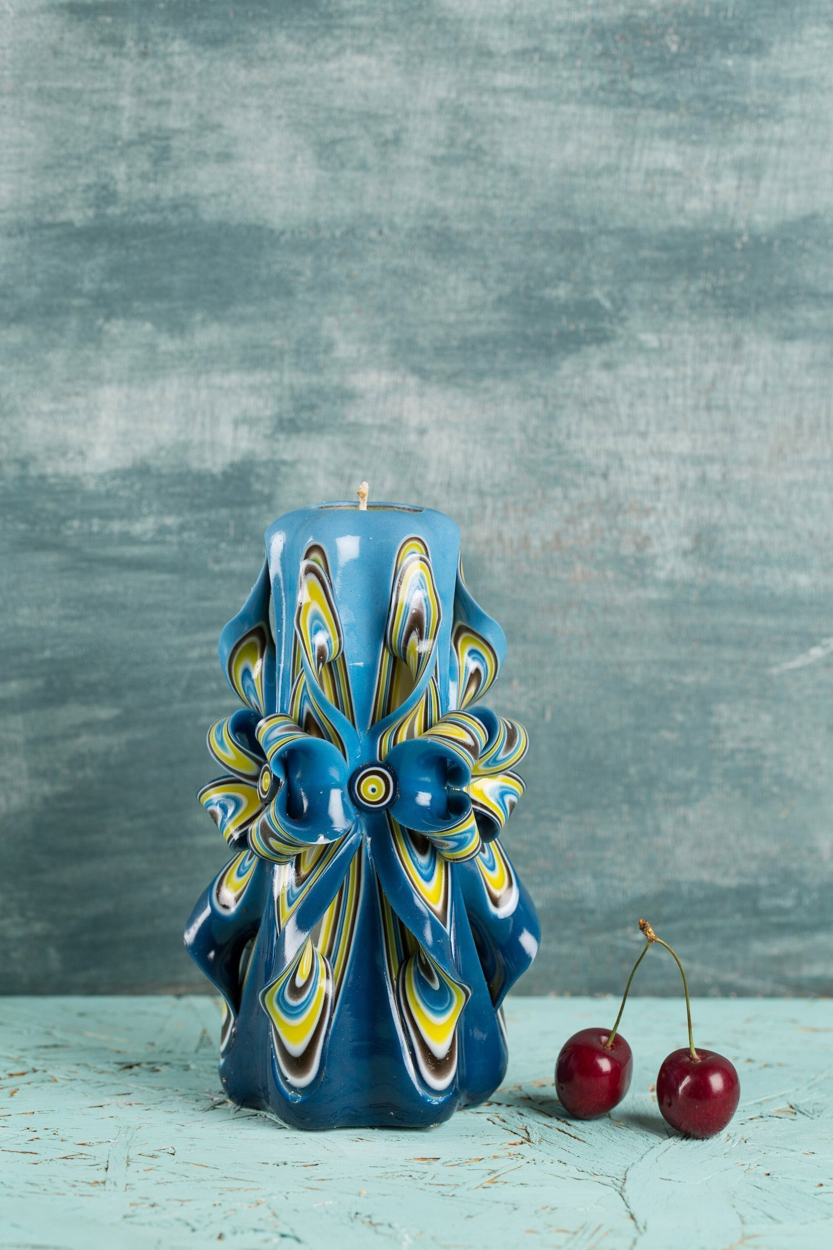 Candle set - Blue and Yellow - Bright colors - Decorative carved candle - EveCandles by EveCandles (Image #2)