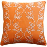 """Vine Embroidery with Piping Decorative Throw Pillow COVER 18"""" Orange White"""