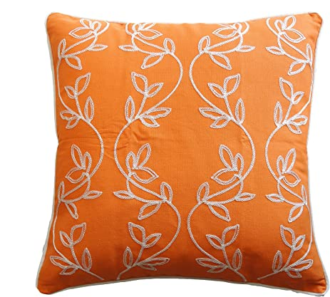 Amazoncom Vine Embroidery with Piping Decorative Throw Pillow