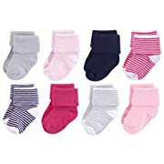 Luvable Friends Baby Basic Socks, Navy And Pink 8Pk, 0-6 Months