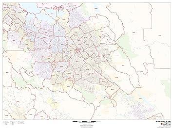 San Jose California Zip Code Map.Amazon Com San Jose California Zip Codes 48 X 36 Matte