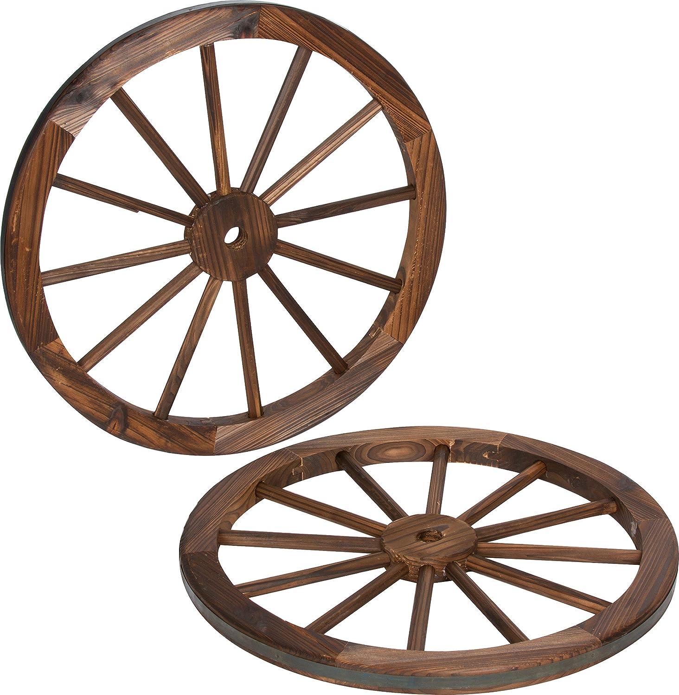 Trademark Innovations Decorative Vintage Wood Garden Wagon Wheel with Steel Rim-24 Diameter (Set of 2), 2 Count