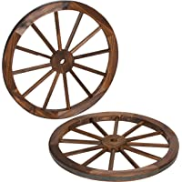 Trademark Innovations Decorative Vintage Wood Garden Wagon Wheel with Steel Rim-24 Diameter (Set of 2), 2 Count
