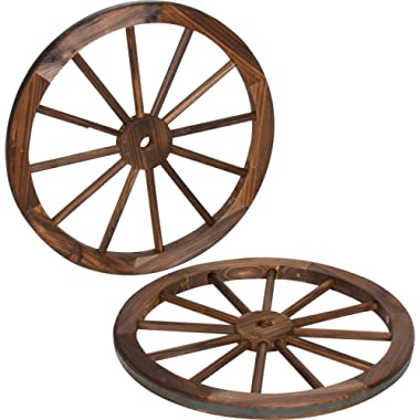 Trademark Innovations Decorative Vintage Wood Garden Wagon Wheel with Steel Rim-24 Diameter (Set of 2)