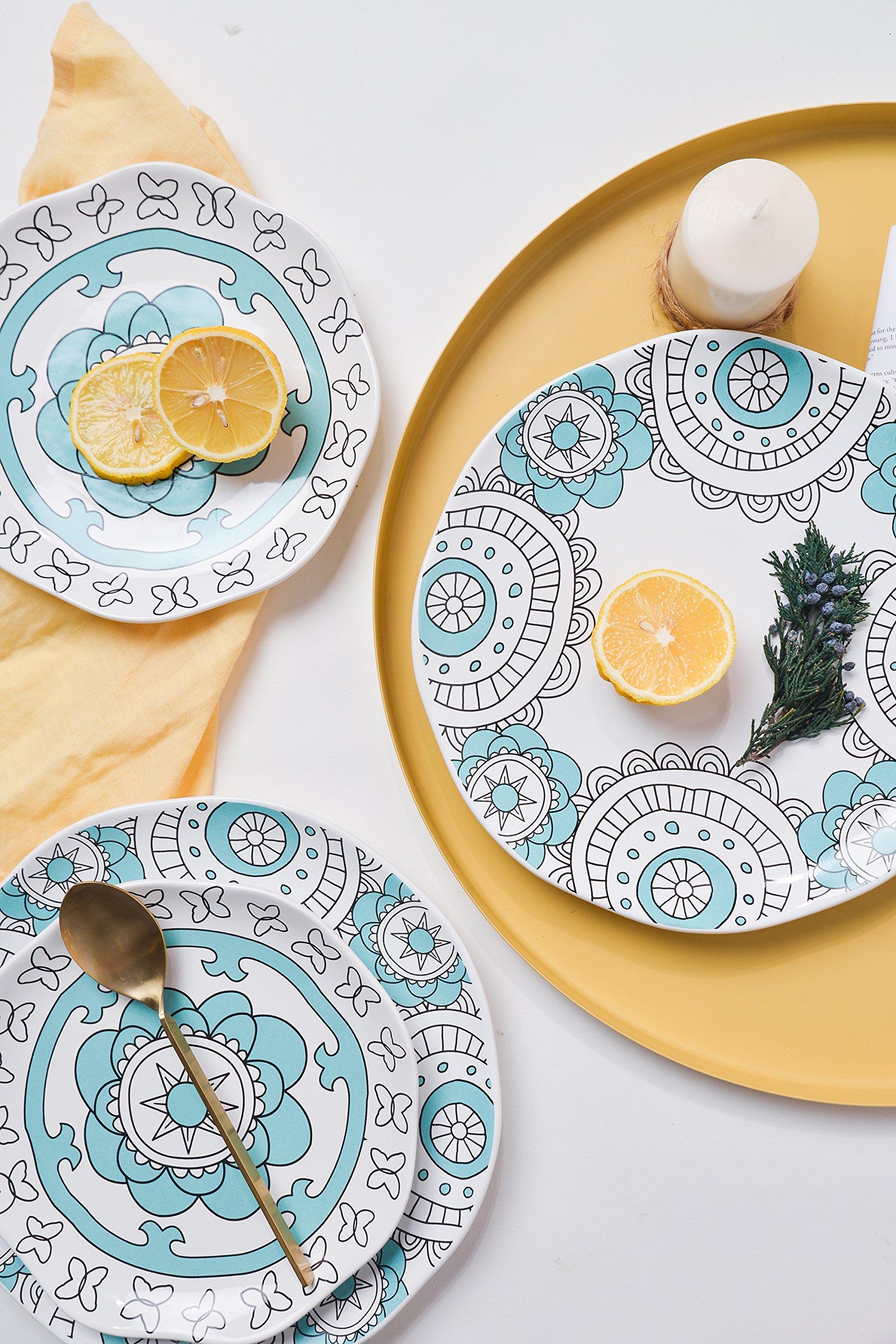 Dinner Plates Appetizer Salad Plate Set 4, Porcelain Mint Blue, Floral Pattern, Accent Serving Plates by LA JOLIE MUSE (Image #4)