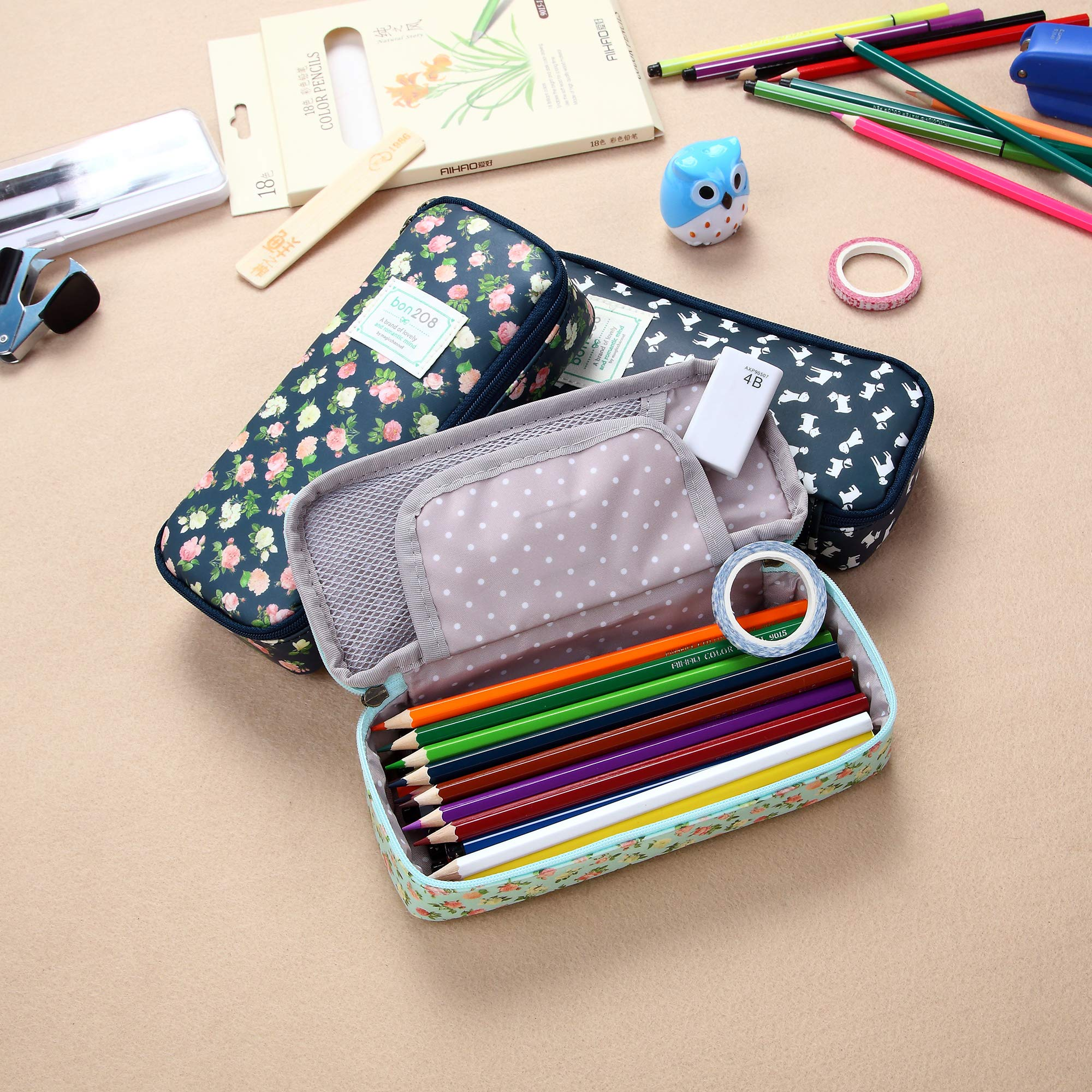 D.Sword Cute Pencil Case for Kid,Big Capacity Pen Bag Student Office Stationery Organizer for College Middle School Grade School,Floral Pencil Pouch Cosmetic Bag Makeup Bag(Light Green with Flowers) by Dragon Sword (Image #7)