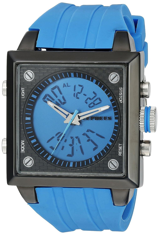 CEPHEUS CP900-633A - Reloj analógico y Digital de Cuarzo para Hombre con Correa de Silicona, Color Azul