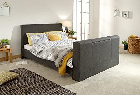 GFW Furniture Brooklyn Fabric Pneumatic TV Beds - 4ft6 Double 5ft King,  Charcoal & Light Grey