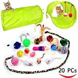 20 Cat Toys Kitten Toys Assortments , 2 Way Tunnel , Cat Feather Teaser - Wand Interactive Feather Toy Fluffy Mouse , Crinkle Balls for Cat, Puppy, Kitty, Kitten