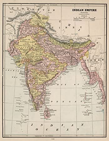 Amazon world atlas map india bangladesh pakistan 1882 world atlas map india bangladesh pakistan 1882 historic antique vintage map gumiabroncs Image collections
