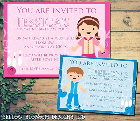 Personalised Childrens Birthday Invitations Printed Invites Boy Girl Joint Party Twins Unisex Bowling 1st 2nd