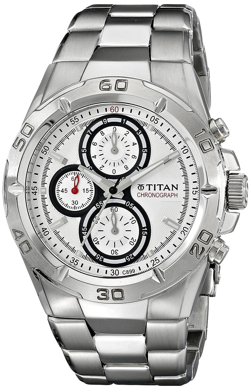 Titan Octane Chronograph White Dial Men's Watch