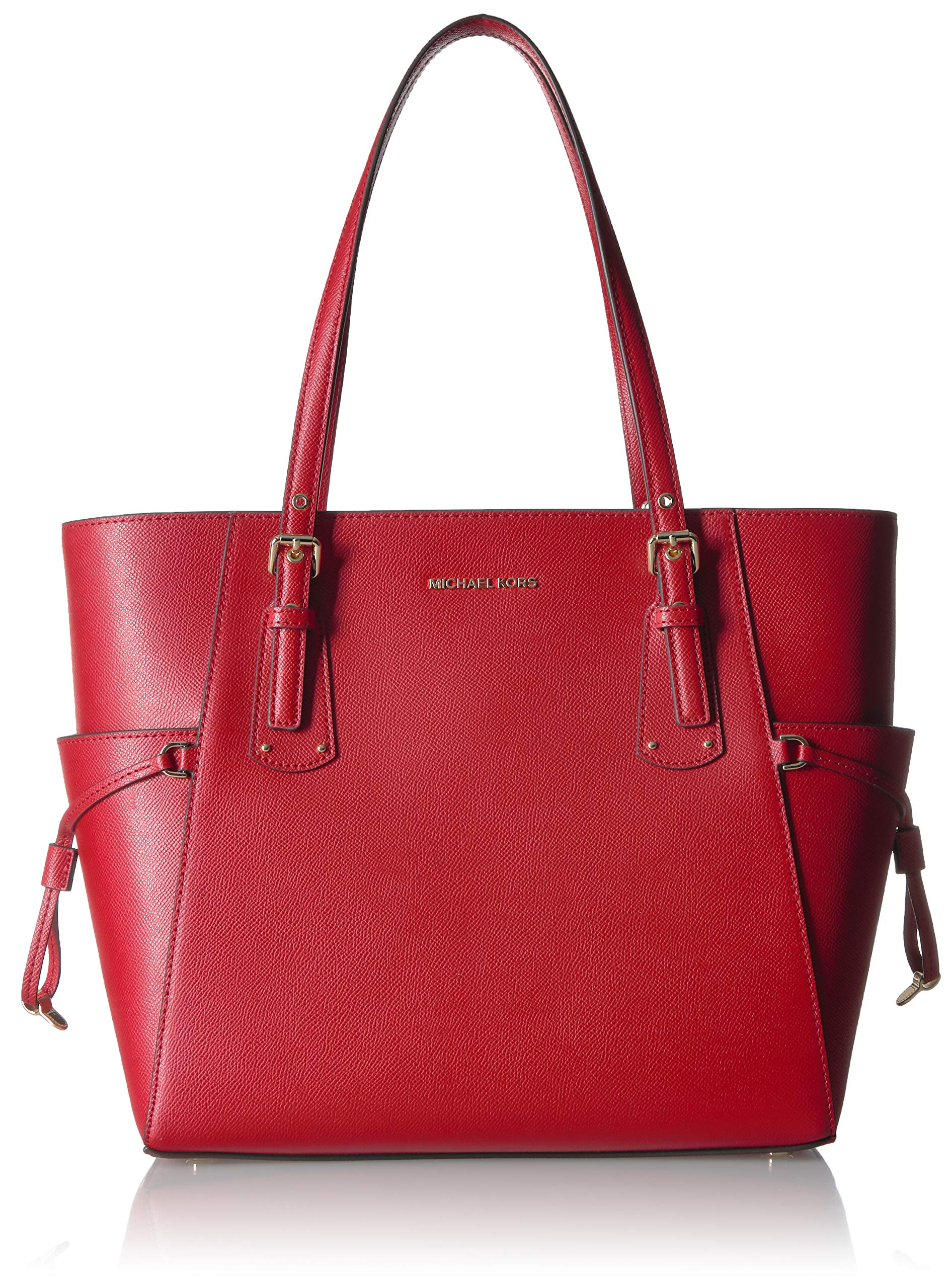 Michael Kors Voyager East West Leather Tote Handbag in Bright Red