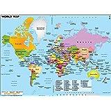 Amazon Com World Map With Latitude And Longitude border=