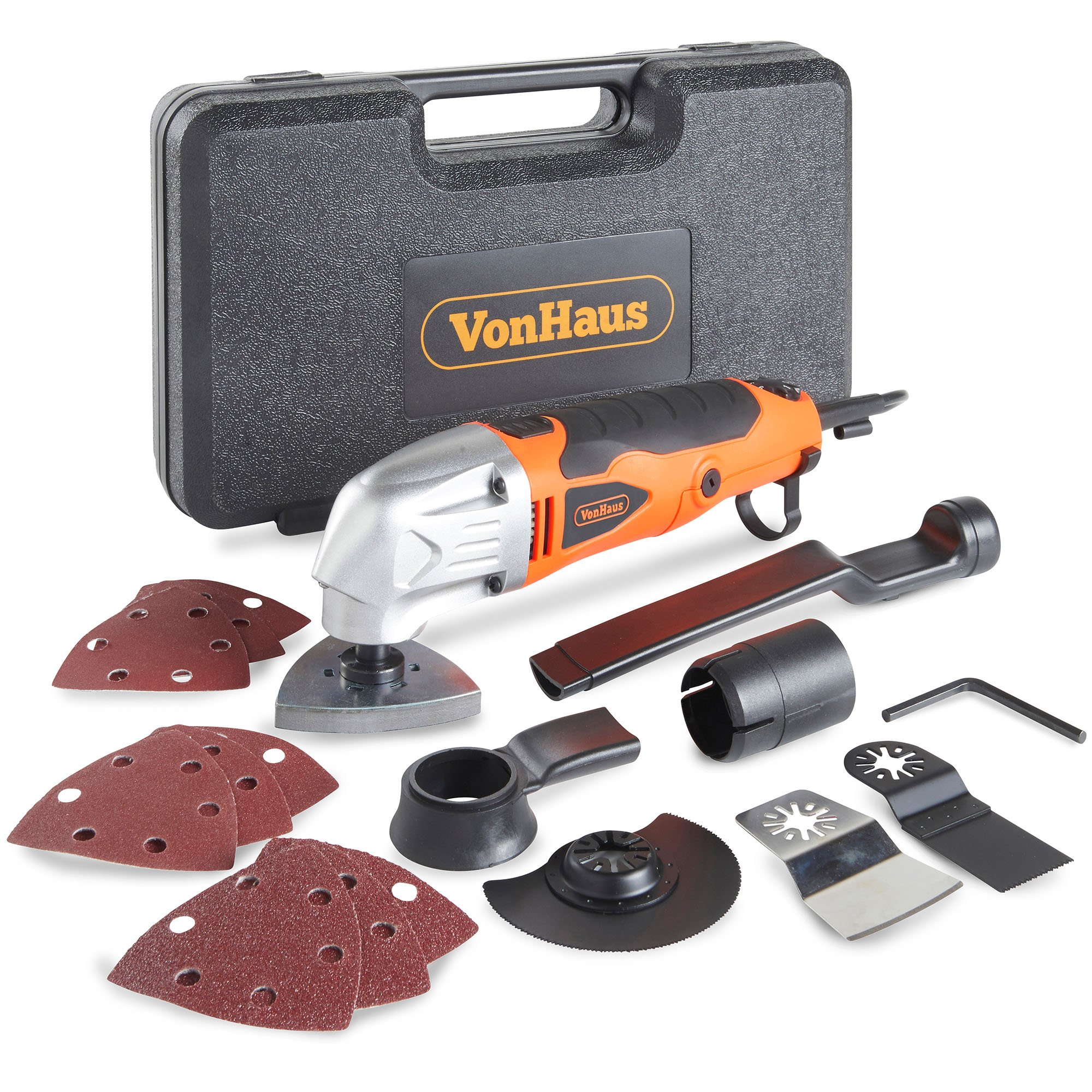 VonHaus 2.3 Amp Corded Multi-Purpose Oscillating Tool with 6 Variable Speeds, 15 Accessories Including Half Moon Saw, E-Cut Blade, 9 Sanding Paper Pads and Carry Storage Case