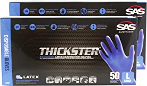 SAS 6603 (2 boxes) Thickster Textured Safety Latex Gloves, Large