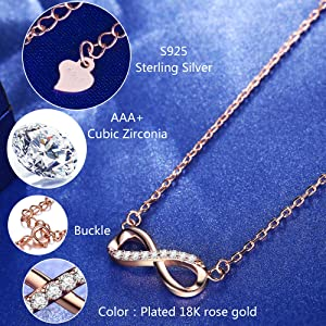 e7686d0bd Amazon.com: F.ZENI Women Necklace Infinity Forever Love 925 Sterling ...