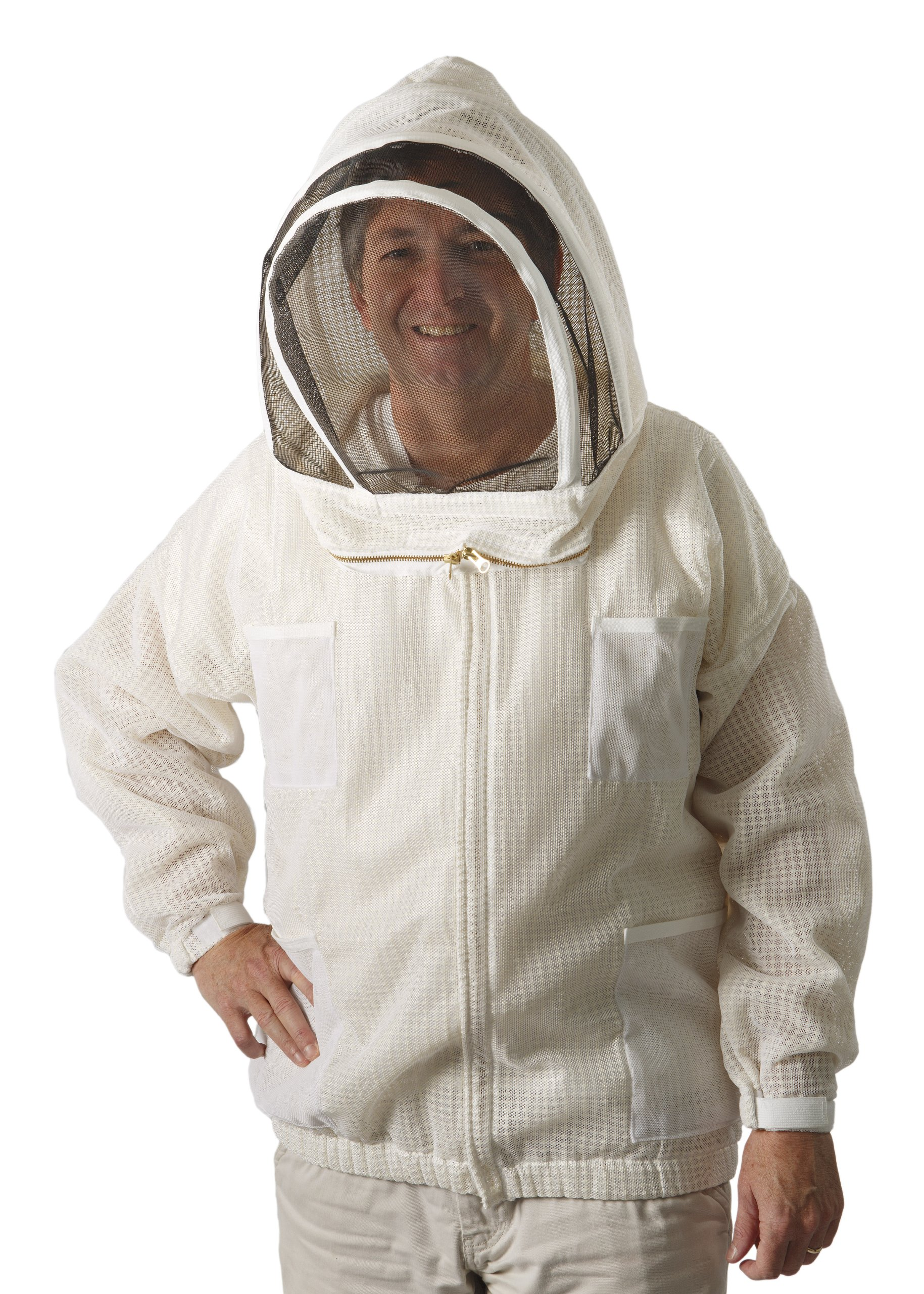The Ultra Breeze Beekeeping Jacket with Veil, 1-Unit, White, X-Large by The Ultra Breeze (Image #1)