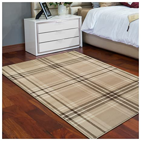 Superior Tartan Collection Area Rug, 8mm Pile Height With Jute Backing,  Classic Designer Plaid