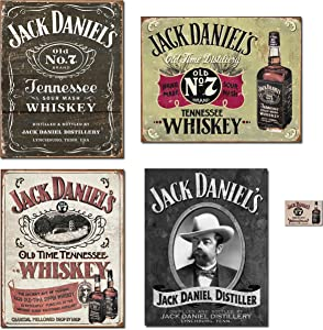 Bundle: Jack Daniels Sign Decor - Jack Daniels Logo Tin Sign, Jack Daniels Hand Made Tin Sign, Jack Daniels Sippin Whiskey Tin Sign, Jack Daniels Portrait Tin Sign and Jack Daniels Magnet