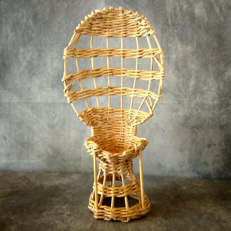 Miniature Peacock Chair Rustic Rattan Look Dollhouse Furnishing Handmade Classic Back Wicker Armchair Amazon Ca Handmade