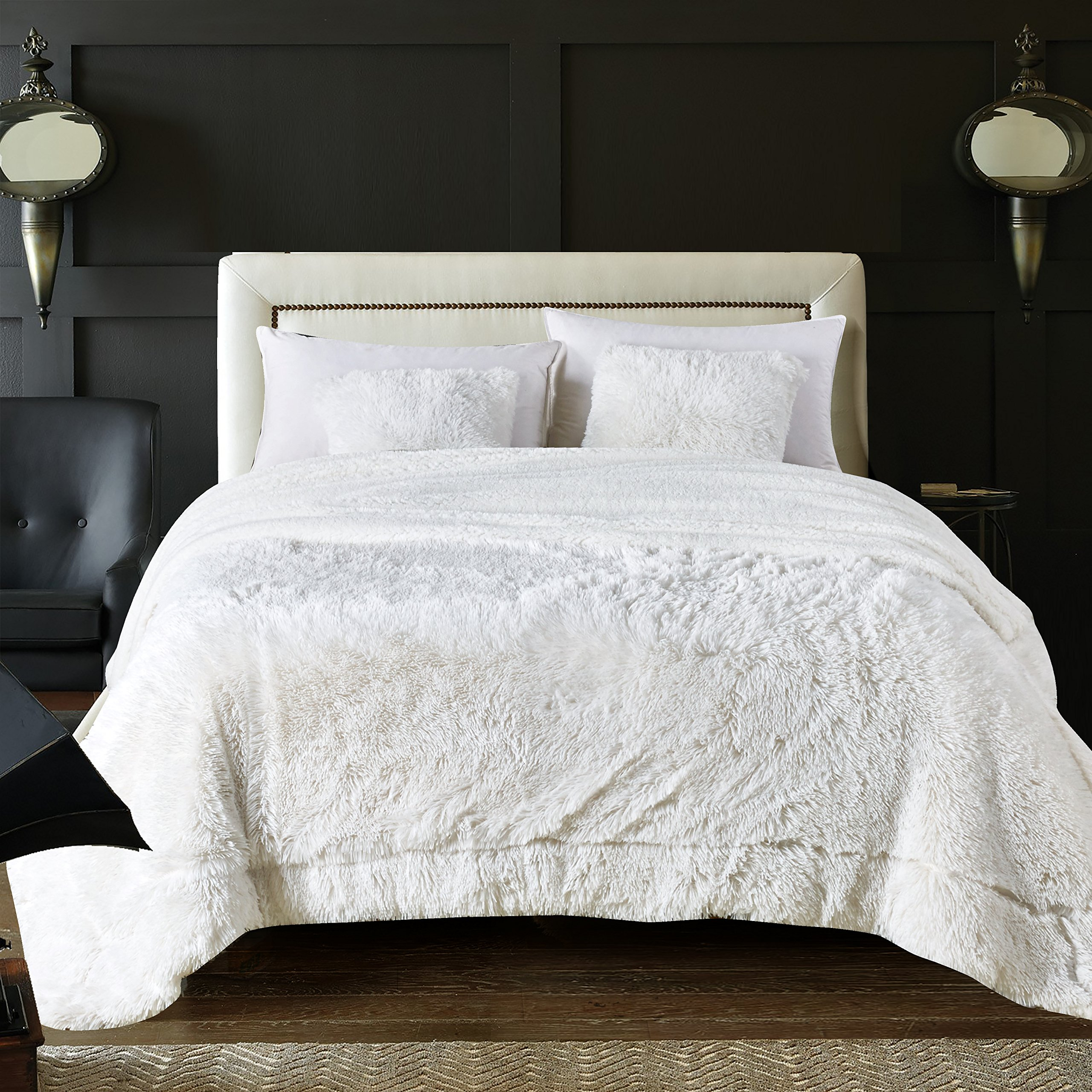 Chanasya Super Soft Shaggy Longfur Throw Blanket | Snuggly Fuzzy Faux Fur Lightweight Warm Elegant Cozy Plush Sherpa Fleece Microfiber Blanket | for Bed Couch Living Bed Room - King - White by Chanasya