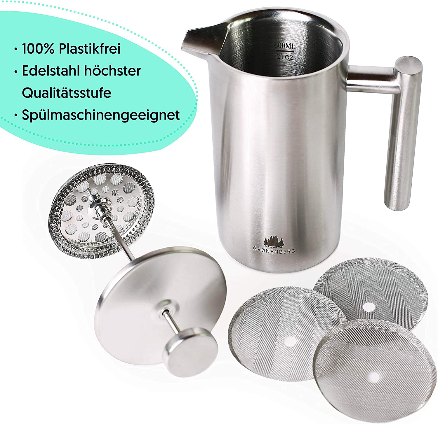 3 Cup Stainless Steel Coffee Press French Press Coffee Maker 0,6 Litre Double-walled /& incl Groenenberg Cafeti/ère replacement filter