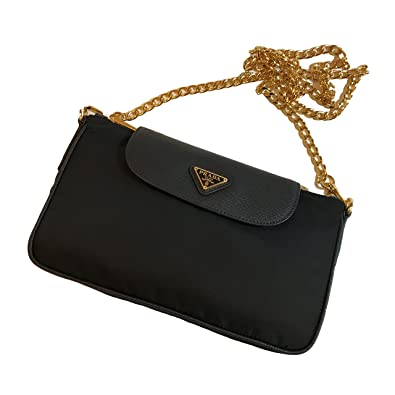 2e0a9447c68136 Prada Women's Tessuto Saffian Crossbody 1BH085 Black: Handbags ...