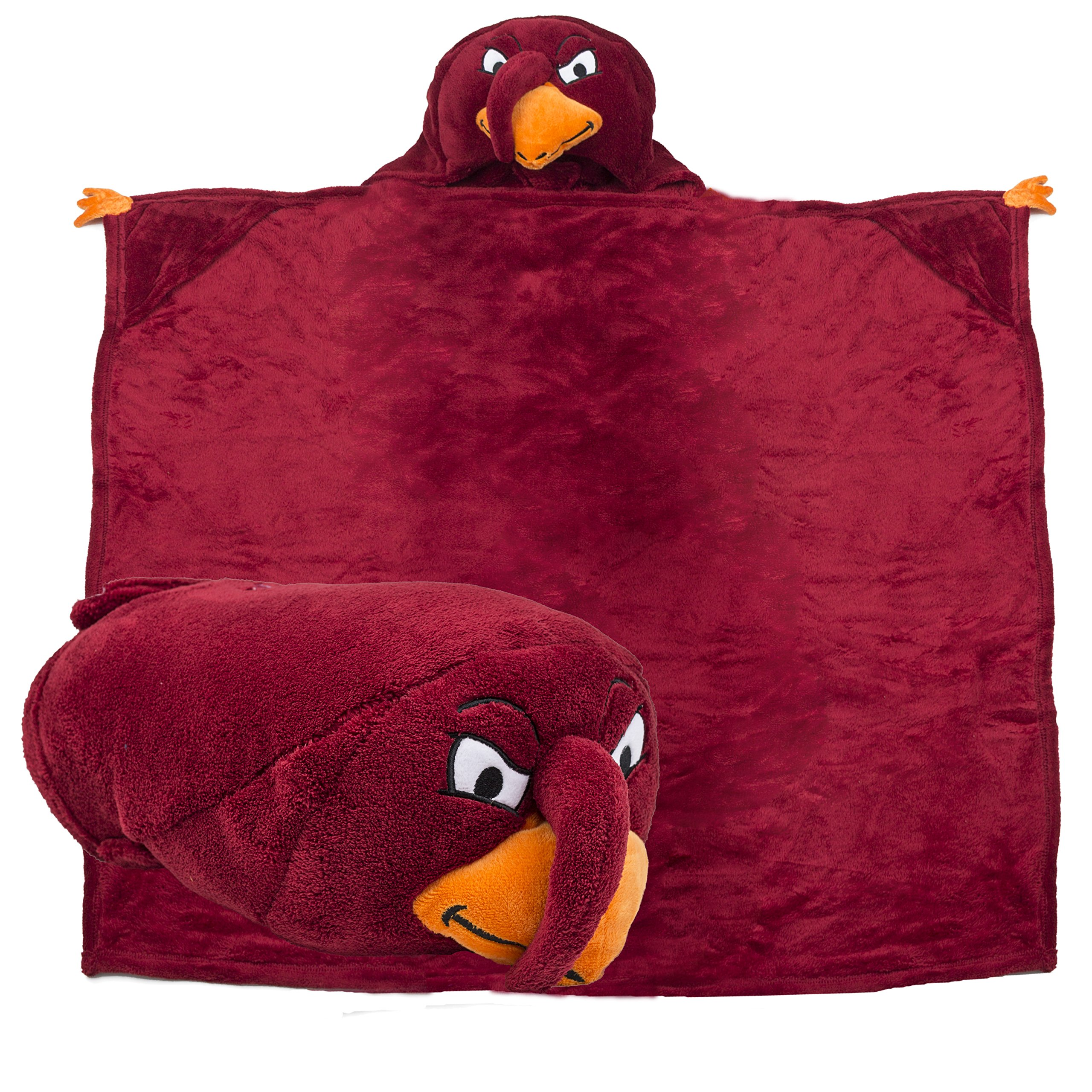 Comfy Critters Stuffed Animal Blanket – College Mascot, Virginia Tech University 'HokieBird' – Kids huggable pillow and blanket perfect for the big game, tailgating, pretend play, and much more